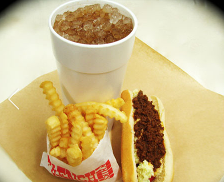 hot dog drink and crinkle fries